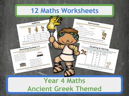 ancient greek themed maths worksheets year 4 by