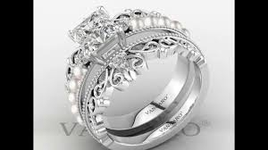 Vancaro Wedding Rings by Vancaro Princess Crown Promise Rings For Women With Pearl Studded