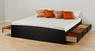 King Size Platform Bed Plans With Drawers by Modern Black Painted Pine Wood King Size Platform Bed With Storage