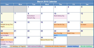 march 2016 calendar with holidays usa uk canada with regard to