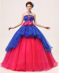 organza strapless blue and red cheap quinceanera prom dresses 2016