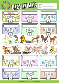 baby animals esl printable worksheets for kids 2