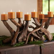 dark driftwood candelabra centerpiece so that u0027s cool