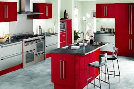 interior magnificent red and white interior of small kitchen