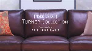 Pottery Barn Leather Couch Take A Seat Turner Square Arm Leather Sofa Youtube