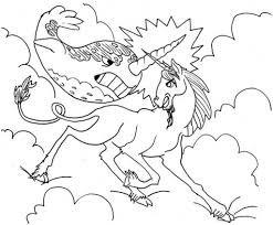 unicorn and narwhal fight in the sky coloring page animal