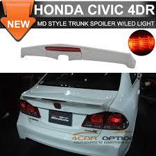 honda civic spoiler brake light 06 11 honda civic 4dr md rear trunk spoiler wing lip frp with led