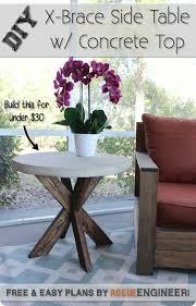Pottery Barn Inspired Diy Dresser Diy X Brace Side Table W Concrete Top Free U0026 Easy Plans