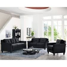 Black Microfiber Loveseat Sofas Couches Sears