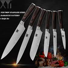 sets of kitchen knives xyj freshly stoned 6 pcs sets kitchen knives set stainless steel