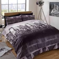 British Flag Bedding Duvet Cover With Pillow Case Bedding Set London Skyline Black Grey