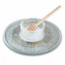rosh hashanah seder plate glass rosh hashanah honey plate with honey wand jerusalem