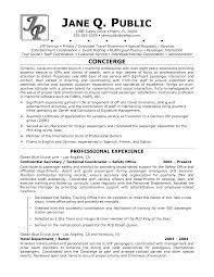 Sample Resume For Hotel Jobs Resume For Concierge Job Applevalleylife Com