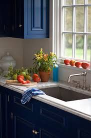 kitchen blue kitchen cabinets white countertops pictures