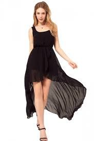ladies tank top high low long elegant chiffon dress