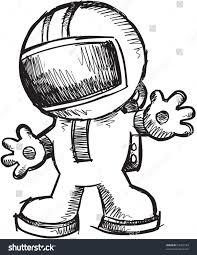 sketch doodle astronaut walking vector illustration stock vector