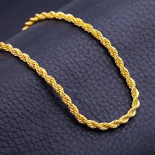 gold chain necklace rope images 50cm men 39 s hip hop necklace unisex gold color twisted rope chain jpg