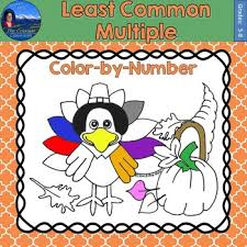 common multiple lcm math practice thanksgiving color number