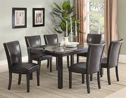 Cappuccino Dining Room Furniture Carter 7 Piece Faux Marble Dining Set In Deep Cappuccino Finish By