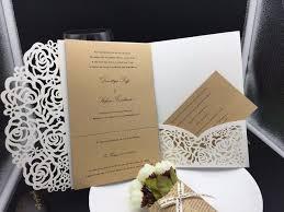 wholesale wedding invitations 1pcs sle graceful flowers trifold laser cut pocket