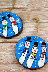 wood slice fingerprint snowmen ornaments frugal eh