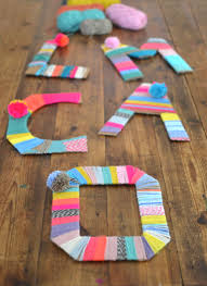 yarn wrapped cardboard letters cardboard letters fun art