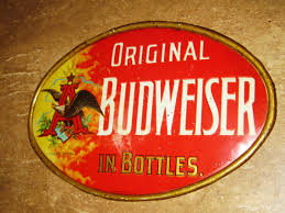Metal Budweiser Cooler by 1900s Anheuser Busch Beer Tin Sign Budweiser Vintage Old Pre Pro