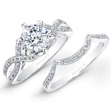 Wedding Ring Sets For Him And Her White Gold by 18k White Gold Split Twist Shank Diamond Bridal Set