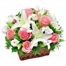 roses and lilies k34 flower basket with roses and lilies flowers ee