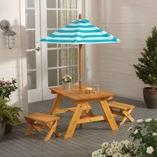 Kids Wooden Picnic Table Kidkraft Outdoor Kids U0027 4 Piece Picnic Table Set With Umbrella