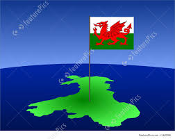 Map Of Wales Map Of Wales With Flag Stock Illustration I1442296 At Featurepics