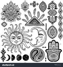 sun moon ornaments vintage vector set stock vector 309071612