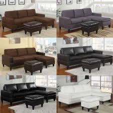 Black Microfiber Sectional Sofa 3 Pc Chocolate Grey Black Cream Microfiber Faux Leather Sectional