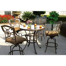 round glass top tables 42 inches darlee ten star antique bronze cast aluminum 5 piece dining set