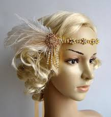 great gatsby headband gold rhinestone headband headpiece with feathers great gatsby