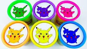 cups play doh clay pokemon go pikachu collection toys learn colors