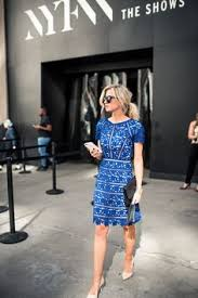 cobalt blue lace overlay dress with sleeves for new york fashion