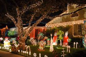 outdoor decorations with bright lights in unique