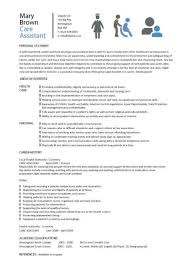 resume template for assistant care assistant cv template description cv exle resume