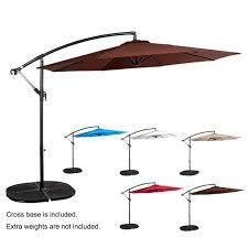 Patio Umbrella Crank 10ft Outdoor Patio Umbrella Offset Sun Shade Cantilever Hanging