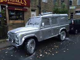 land rover 101 vandals spray paint police land rover silver in hebden bridge