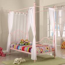 bedroom gray polished metal canopy bed using pink comforter and