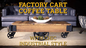 reclaimed barnwood factory cart coffee table youtube