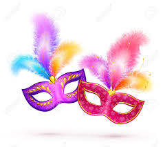 carnaval masks pair of bright carnival masks with colorful feathers royalty free