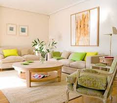 soft family room ideas with beige sofa and cream paint color using