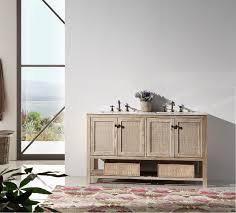 abel 60 inch rustic white wash double sink bathroom vanity marble top