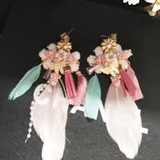 feather flower new european ceramic pink flower feather drop earrings model