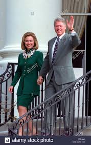 us president bill clinton and first lady hillary clinton wave as