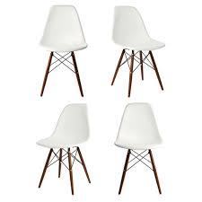 set of 4 eames style dsw molded white plastic dining shell chair