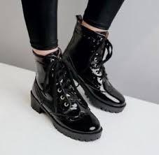 lace up moto boots womens fashion low heel patent leather casual ankle boots lace up